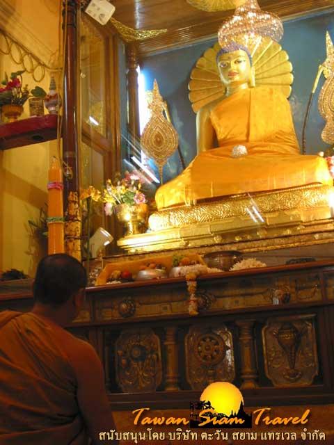กราบนมัสการพระประธานพระพุทธเมตตา  ประดิษฐานภายในเจดีย์พุทธคยา